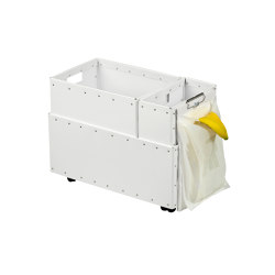 Recycling box Double with clips and wheels, white   Waste baskets   BIARO