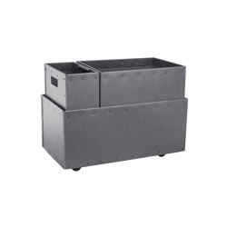 Recycling box Double with clips inside and wheels, graphite | Waste baskets | BIARO