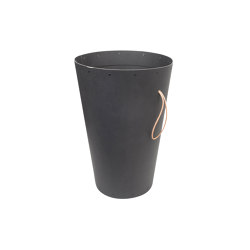 Wastebasket with a leather strap, graphite | Waste baskets | BIARO