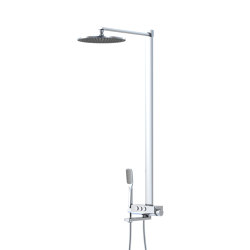 390 2773 Shower set with exposed thermostatic bath mixer, pushtronic, with rain shower and handshower | Shower controls | Steinberg