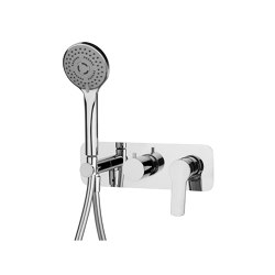 Serie 4 F3789X2 | Single lever bath and shower mixer for concealed installation 2 outlet with shower set | Bath taps | Fima Carlo Frattini