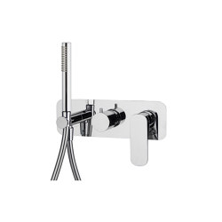 Quad F3739X2 | Single lever bath and shower mixer for concealed installation 2 outlet with shower set | Shower controls | Fima Carlo Frattini
