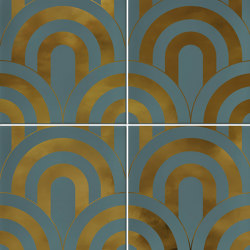 Hanami | Takada Turquesa Oro | Baldosas de cerámica | VIVES Cerámica
