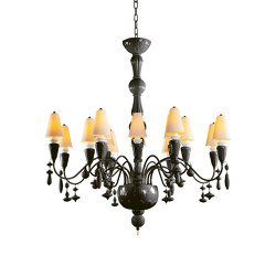 Ivy and Seed 16 Lights Chandelier | Medium Flat Model | Absolute Black (CE/UK) | Chandeliers | Lladró
