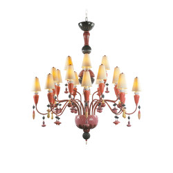 Ivy and Seed 20 Lights Chandelier | Medium Model | Red Coral (CE/UK) | Chandeliers | Lladró