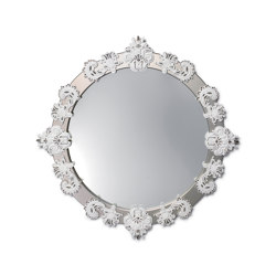 Mirrors | Round Large Wall Mirror | Silver Lustre and White | Limited Edition | Mirrors | Lladró