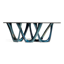G-Table Cosmos With Cosmic Blue Base and Oval Granite Top by Zieta | Tavoli pranzo | Zieta
