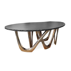 G-Table With Flamed Gold Base And Granite Top | Dining tables | Zieta