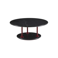 Astair | Low Table Bordeaux Lacquered Steel Base Black Marble Top | Coffee tables | Ligne Roset