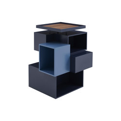 Stack | Mueble Giratorio Version 1 Bleu Nuit / Azur / Nogal Natural | Estantería | Ligne Roset