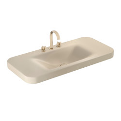 BASINS | 1100 mm countertop washbasin for 3-holes basin mixer | Greige | Wash basins | Armani Roca