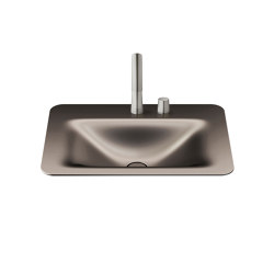BASINS | 660 mm countertop washbasin for 2-hole basin mixer | Dark Metallic | Wash basins | Armani Roca