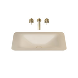 BASINS | 660 mm countertop washbasin for wall-mounted basin mixer | Greige | Wash basins | Armani Roca
