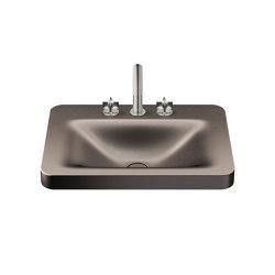 BASINS   660 mm over countertop washbasin for 3-hole basin mixer   Shagreen Dark Metallic   Wash basins   Armani Roca