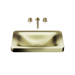 BASINS | 660 mm over countertop washbasin for wall-mounted basin mixer | Shagreen Matt Gold | Wash basins | Armani Roca