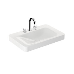 BASINS | 750 mm wall-hung or pedestal washbasin for 3-hole basin mixer | Glossy White | Wash basins | Armani Roca