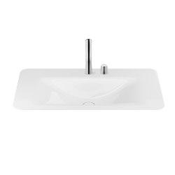 BASINS   900 mm countertop washbasin for 2-hole basin mixer   Glossy White   Wash basins   Armani Roca