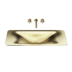 BASINS | 900 mm countertop washbasin for wall-mounted basin mixer | Matt Gold | Wash basins | Armani Roca