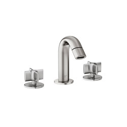 FAUCETS | Deck-mounted 3-hole bidet mixer | Brushed Steel | Bidet taps | Armani Roca