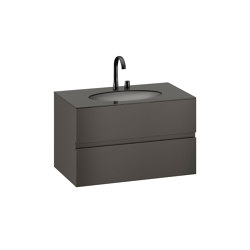 FURNITURE | 1000 mm Furniture with upper and lower drawer for single 670 mm under-counter washbasin | Nero | Vanity units | Armani Roca
