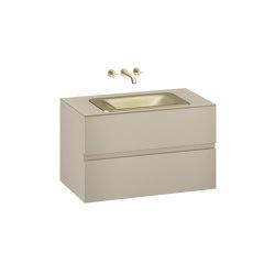 FURNITURE   1000 mm wall-hung furniture for  countertop washbasin and wall-mounted basin mixer   Greige   Vanity units   Armani Roca