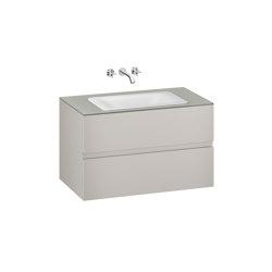 FURNITURE   1000 mm wall-hung furniture for  countertop washbasin and wall-mounted basin mixer   Silver   Vanity units   Armani Roca
