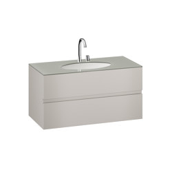 FURNITURE   1200 mm Furniture with upper and lower drawer for single 670 mm under-counter washbasin   Silver   Vanity units   Armani Roca