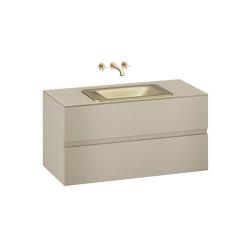 FURNITURE | 1200 mm wall-hung furniture for  countertop washbasin and wall-mounted basin mixer | Greige | Vanity units | Armani Roca