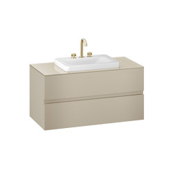 FURNITURE   1200 mm wall-hung furniture for over countertop washbasins and deck-mounted basin mixers   Greige   Vanity units   Armani Roca