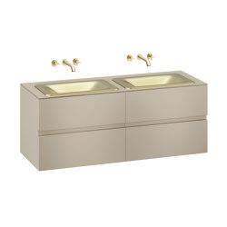 FURNITURE | 1550 mm wall-hung furniture for  2 countertop washbasins and wall-mounted basin mixers | Greige | Vanity units | Armani Roca