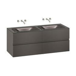 FURNITURE | 1550 mm wall-hung furniture for  2 countertop washbasins and wall-mounted basin mixers | Nero | Vanity units | Armani Roca