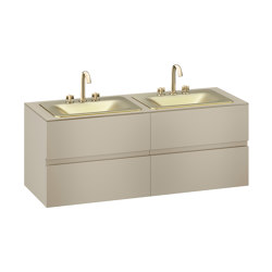 FURNITURE   1550 mm wall-hung furniture for 2 countertop washbasins and deck-mounted basin mixers   Greige   Vanity units   Armani Roca