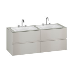 FURNITURE   1550 mm wall-hung furniture for 2 countertop washbasins and deck-mounted basin mixers   Silver   Vanity units   Armani Roca
