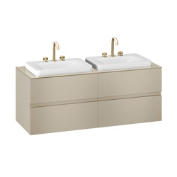 FURNITURE | 1550 mm wall-hung furniture for 2 over countertop washbasins and deck-mounted basin mixers | Greige | Vanity units | Armani Roca