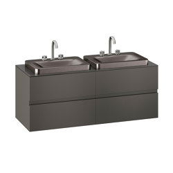 FURNITURE | 1550 mm wall-hung furniture for 2 over countertop washbasins and deck-mounted basin mixers | Nero | Vanity units | Armani Roca