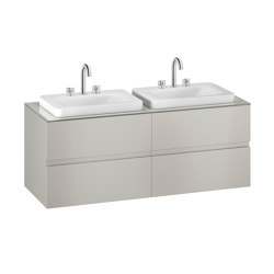 FURNITURE | 1550 mm wall-hung furniture for 2 over countertop washbasins and deck-mounted basin mixers | Silver | Vanity units | Armani Roca