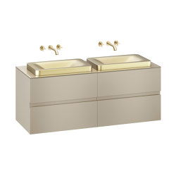FURNITURE | 1550 mm wall-hung furniture for 2 over countertop washbasins and wall-mounted basin mixers | Greige | Vanity units | Armani Roca
