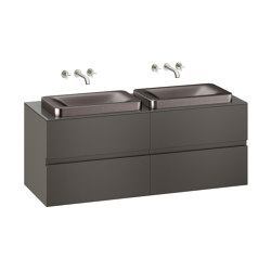 FURNITURE | 1550 mm wall-hung furniture for 2 over countertop washbasins and wall-mounted basin mixers | Nero | Vanity units | Armani Roca