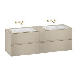 FURNITURE | 1800 mm wall-hung furniture for  2 countertop washbasins and wall-mounted basin mixers | Greige | Vanity units | Armani Roca
