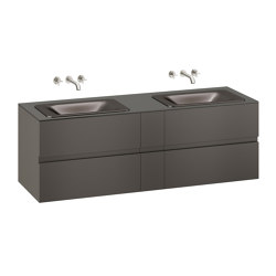 FURNITURE | 1800 mm wall-hung furniture for  2 countertop washbasins and wall-mounted basin mixers | Nero | Vanity units | Armani Roca