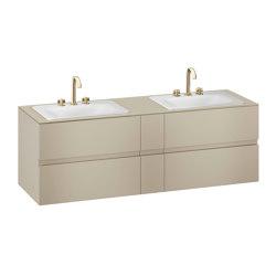 FURNITURE | 1800 mm wall-hung furniture for 2 countertop washbasins and deck-mounted basin mixers | Greige | Vanity units | Armani Roca