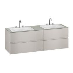 FURNITURE | 1800 mm wall-hung furniture for 2 countertop washbasins and deck-mounted basin mixers | Silver | Vanity units | Armani Roca
