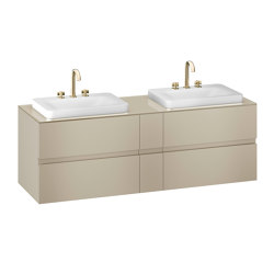 FURNITURE   1800 mm wall-hung furniture for 2 over countertop washbasins and deck-mounted basin mixers   Greige   Vanity units   Armani Roca