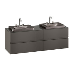 FURNITURE   1800 mm wall-hung furniture for 2 over countertop washbasins and deck-mounted basin mixers   Nero   Vanity units   Armani Roca