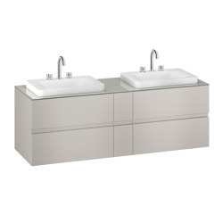 FURNITURE   1800 mm wall-hung furniture for 2 over countertop washbasins and deck-mounted basin mixers   Silver   Vanity units   Armani Roca