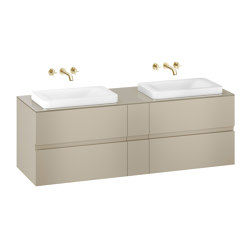 FURNITURE | 1800 mm wall-hung furniture for 2 over countertop washbasins and wall-mounted basin mixers | Greige | Vanity units | Armani Roca