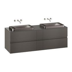 FURNITURE | 1800 mm wall-hung furniture for 2 over countertop washbasins and wall-mounted basin mixers | Nero | Vanity units | Armani Roca