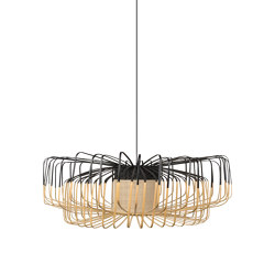 Bamboo Up N Down | Pendant Lamp | Up N Down XXL Black | Suspended lights | Forestier