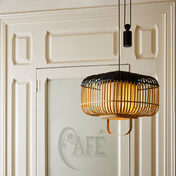 Bamboo-Square | Pendant Lamp | Square S Black | Suspended lights | Forestier
