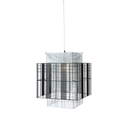 Mesh Cubic | Pendant Lamp | M White/Black | Suspended lights | Forestier